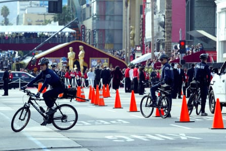 Mandatory Credit: Photo by NAM Y HUH/AP/REX/Shutterstock (6417252b) Los Angeles bicycle-mounted police guard an area close to the Kodak Theater the site of the Oscar presentations, in Los Angeles. The 76th annual Academy Awards will be handed out later in the day under tight security OSCARS SECURITY, LOS ANGELES, USA