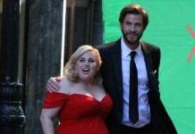 Rebel Wilson and Liam Hemsworth on set