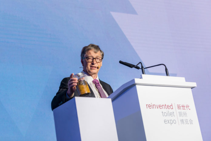 Bill Gates, founder of Microsoft and co-chair of the Bill & Melinda Gates Foundation speaks at the opening of the Reinvented Toilet Expo in Beijing, Nov. 6, 2018. [Photo courtesy of the Bill & Melinda Gates Foundation]