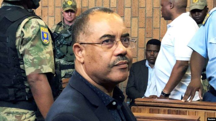 FILE - Mozambique's former finance minister Manuel Chang appears in court during an extradition hearing in Johannesburg, South Africa, Jan. 8, 2019.