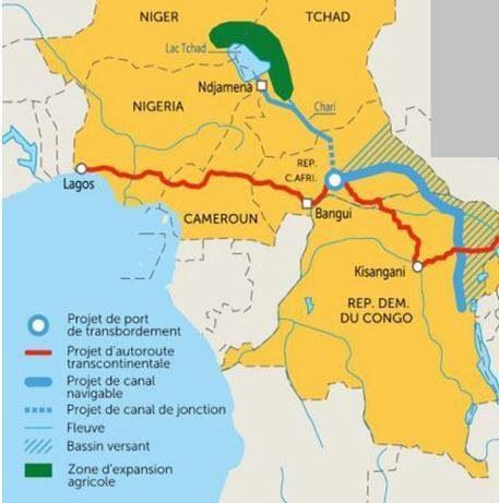 Proposed Transaqua Navigable Canal to Refurbish Lake Chad in blue