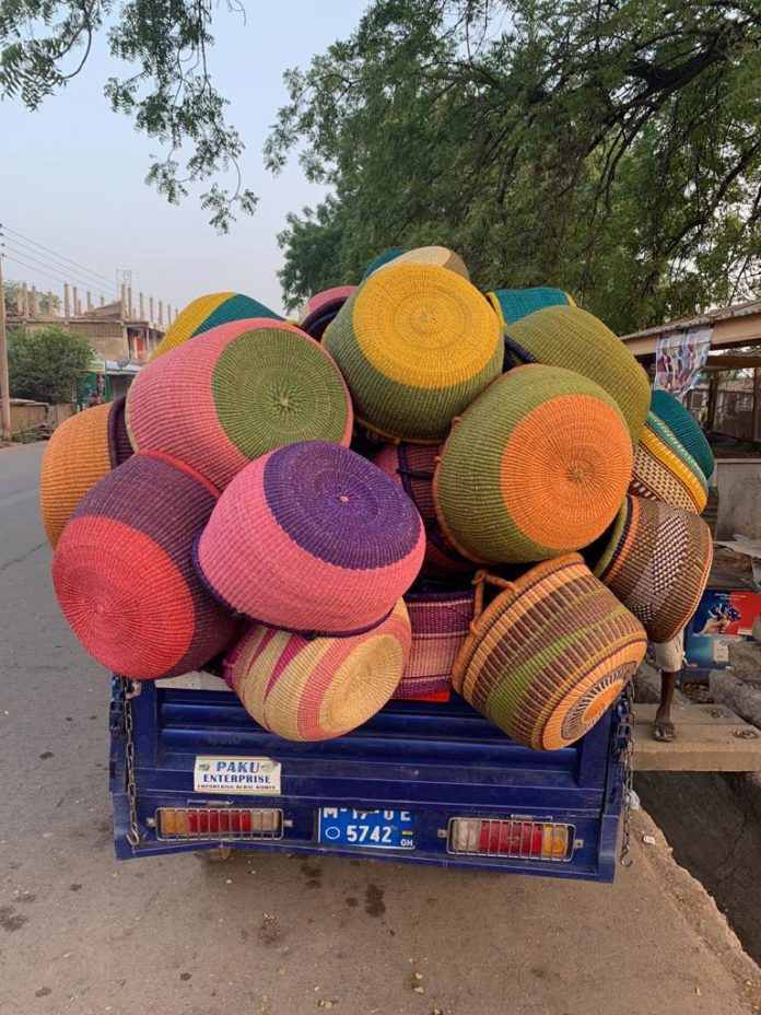 Some of the baskets being transported by a motor king driver to one of the warehouse of Paku Enterprise Ghana in Bolgatanga, UER