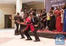 Zambian students under Chinese Government Scholarship programme perform a dance during a ceremony at the National Museum in Lusaka, Zambia, Aug. 25, 2017. The Chinese Embassy in Zambia held a grand ceremony to welcome back as well as bid farewell to students who have received scholarships to study in China. (Xinhua/Peng Lijun)