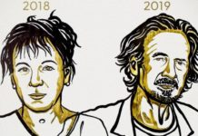 Polish author Olga Tokarczuk won the 2018 award, and Austrian-born Peter Handke the 2019 honor. Artwork by Niklas Elmehed/Nobel Media