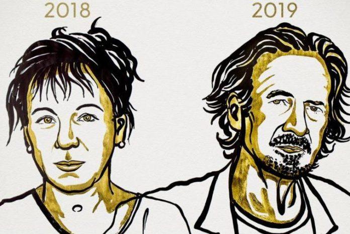 Polish author Olga Tokarczuk won the 2018 award, and Austrian-born Peter Handke the 2019 honor. Artwork by Niklas Elmehed/Nobel Media