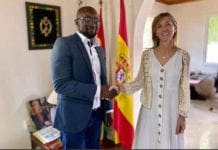 Kurt Okraku with Alicia Rico, Spanish Ambassador to Ghana