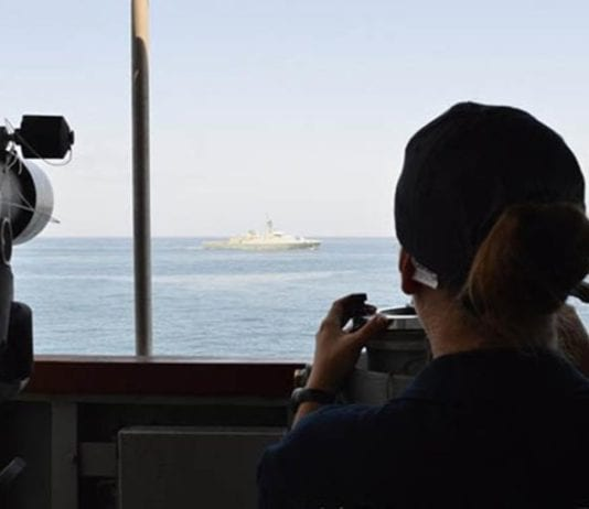 On patrol: a security exercise at sea.
