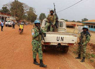 Presence of UN troops is the only large-scale security measure in CAR. Major contributors are Rwanda, Pakistan and Bangladesh. Cameroon troops patrol the center of Bozoum during the regional Mining Center opening. Unfortunately, is possible that the center will attract attention of armed groups.