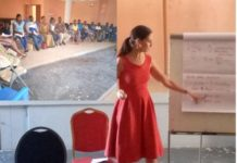 Ms Iris Posthouwer, trainer with the Libre Foundation taking the leaders through of the training sessions.