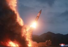 Photo provided by Korean Central News Agency (KCNA) shows the test-fire of another new weapon of the Democratic People's Republic of Korea (DPRK), Aug. 10, 2019. Kim Jong Un, top leader of the Democratic People's Republic of Korea (DPRK), has guided the test-fire of another new weapon, the official Korean Central News Agency (KCNA) reported Sunday. (KCNA/Handout via Xinhua)