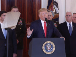 U.S. President Donald Trump (C) delivers a statement at the White House in Washington D.C., the United States, Jan. 8, 2020. Donald Trump said on Wednesday that no U.S. casualties have resulted from Iran's missiles attack against U.S. forces in Iraq on Tuesday, adding that the United States would impose additional sanctions against Tehran. (Xinhua/Hu Yousong)
