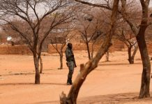 Burkina Faso soldier stands guard at the village of Gorgadji in the Sahel region