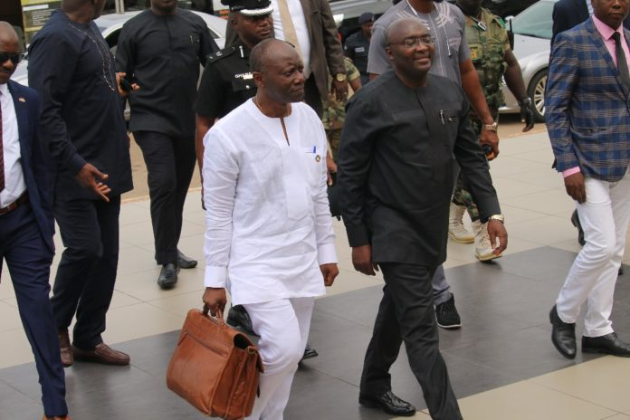 File photo: Ken Ofori-Atta and Dr. Mahamudu Bawumia at Parliament for the 2018 Mid-Year Budget review