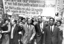 Martin Luther King, Jr. marches with other Civil Rights, Labor and Antiwar leaders in Chicago on March 25, 1967 against the Vietnam War