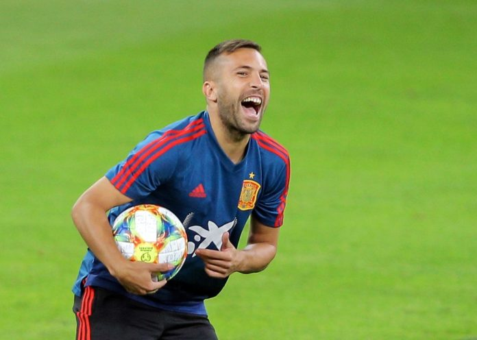 Soccer Football - Euro 2020 Qualifier - Spain Training - Arena Nationala, Bucharest, Romania - September 4, 2019 Spain's Jordi Alba during training Inquam Photos/George Calin via REUTERS ROMANIA OUT. NO COMMERCIAL OR EDITORIAL SALES IN ROMANIA THIS IMAGE HAS BEEN SUPPLIED BY A THIRD PARTY. IT IS DISTRIBUTED, EXACTLY AS RECEIVED BY REUTERS, AS A SERVICE TO CLIENTS