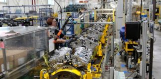 Partially assembled General Motors V6 engines, used in a variety of GM cars, trucks and crossovers, move down the assembly line at the GM Romulus Powertrain plant in Romulus, Michigan, U.S. August 21, 2019. Picture taken August 21, 2019. Rebecca Cook