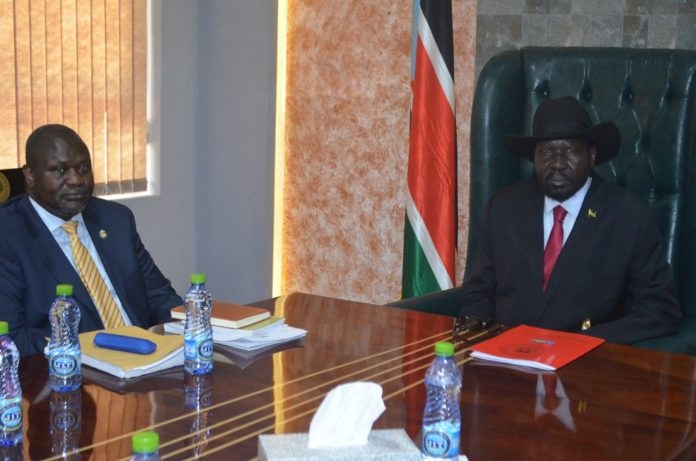 South Sudanese President Salva Kiir (R) is seen with South Sudan's exiled rebel leader Riek Machar in Juba, capital of South Sudan, Sept. 9, 2019. Riek Machar arrived in Juba on Monday for face-to-face talks with President Salva Kiir. President Kiir and Machar are expected to discuss and reevaluate progress and challenges facing the revitalized peace deal they signed in September 2018 in Ethiopia to end more than five years of conflict. (Xinhua Denis Elamu)
