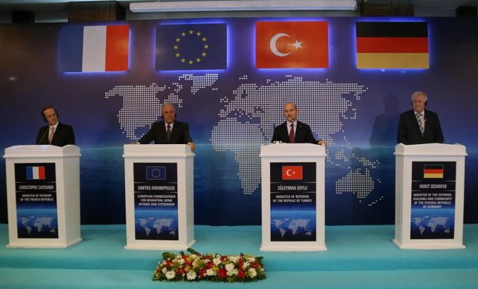 EU Commissioner for Migration, Home Affairs and Citizenship Dimitris Avramopoulos (2nd L), Turkish Interior Minister Suleyman Soylu (2nd R), German Interior Minister Horst Seehofer (1st R), and French Ambassador to Turkey Charles Fries attend a joint press conference in Ankara, Turkey, on Oct. 3, 2019. Dimitris Avramopoulos said Thursday there is an