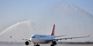 The first flight of the Xi'an-Istanbul direct air route arrives at Xi'an Xianyang International Airport in Xi'an, capital of northwest China's Shaanxi Province, Dec. 30, 2019. Three round trips operated by Turkish Airlines are expected to be made between Xi'an and Istanbul, with inbound flights on every Monday, Wednesday and Friday, and outbound ones on every Tuesday, Thursday and Saturday. (Xinhua/Shao Rui)