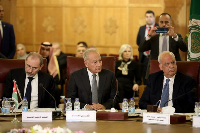 Arab League Secretary-General Ahmed Aboul-Gheit (C) attends an emergency meeting of Arab foreign ministers at the Arab League headquarters in Cairo, Egypt, on Feb. 1, 2020. Palestinian President Mahmoud Abbas said here on Saturday that his authority informed the Israeli and U.S. sides that it will