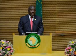 South African President Cyril Ramaphosa speaks during the opening of the 33rd African Union (AU) summit of heads of state and government at the AU headquarters in Addis Ababa, Ethiopia, Feb. 9, 2020. (Photo by Michael Tewelde/Xinhua)