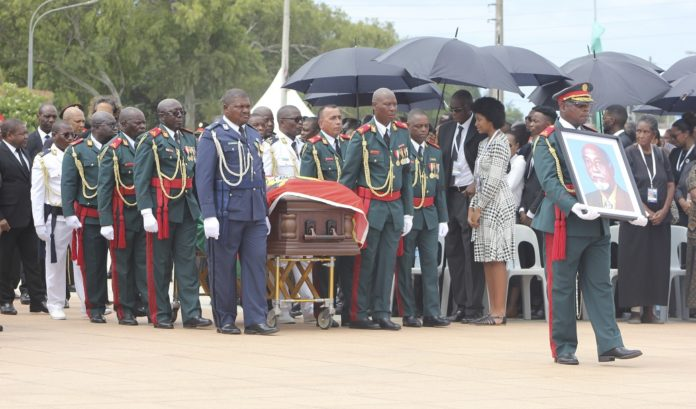 The casket of Marcelino dos Santos is carried into the Heroes' Crypt in Maputo, Mozambique, on Feb. 19, 2020. The remains of former Mozambican liberation fighter and founding member of the country's ruling party Frelimo, Marcelino dos Santos, were deposited in the Mozambican Heroes' Crypt after a state funeral held on Wednesday in Maputo. (Photo by Israel Zefanias/Xinhua)