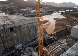 A general view of the Blue Nile river as it passes through the Grand Ethiopian Renaissance Dam (GERD), near Guba in Ethiopia, on December 26, 2019. - The Grand Ethiopian Renaissance Dam, a 145-metre-high, 1.8-kilometre-long concrete colossus is set to become the largest hydropower plant in Africa. (AFP)