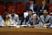 Zhang Jun (R, front), Chinese permanent representative to the United Nations, addresses a Security Council meeting on peace and security in Africa, at the UN headquarters in New York, Oct. 7, 2019. Zhang on Monday stressed the importance of leveraging the role of African countries in solving African problems. (Xinhua/Li Muzi)