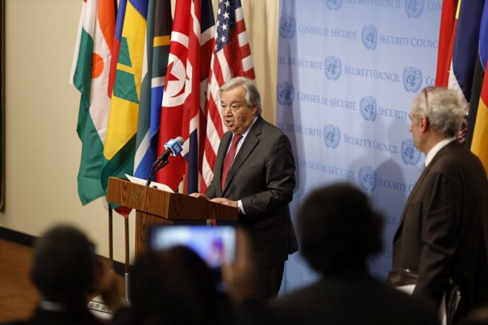 United Nations Secretary-General Antonio Guterres delivers a statement at the UN headquarters in New York, Jan. 6, 2020. Antonio Guterres on Monday called on parties concerned to exercise maximum restraint to stop escalation of global tensions. (Xinhua/Li Muzi)