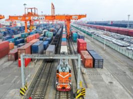 A China-Europe freight train loaded with electronic products departs from the Chengdu International Railway Port, starting a 13-day journey to its destination Tilburg, the Netherlands, Feb. 19, 2020. Photo by Bai Guibin, People's Daily Online