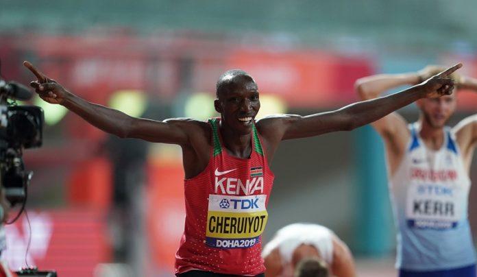 Timothy Cheruiyot of Kenya celebrates after the men's 1500m final at the 2019 IAAF World Athletics Championships in Doha, Qatar, Oct. 6, 2019. (Xinhua/Jia Yuchen)