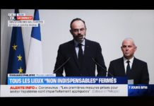 """The TV grab shows French Prime Minister Edouard Philippe (L) delivering a speech in Paris, France, on March 14, 2020. With the COVID-19 confirmed actively spreading across the country, France entered """"stage 3"""" of its epidemic response plan, which means it is now at highest epidemic alert at national level, announced Director-General of Health Jerome Salomon on Saturday evening. (Xinhua/Gao Jing)"""