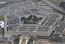 Photo taken on Feb. 19, 2020 shows the Pentagon seen from an airplane over Washington D.C., the United States. The U.S. Department of Defense announced Sunday the death of one of its contractors caused by the coronavirus, the first such fatality related to the U.S. military. The Crystal City, Virginia-based contractor who worked at the Defense Security Cooperation Agency (DSCA) died on Saturday, according to a release by the Pentagon. (Xinhua/Liu Jie)