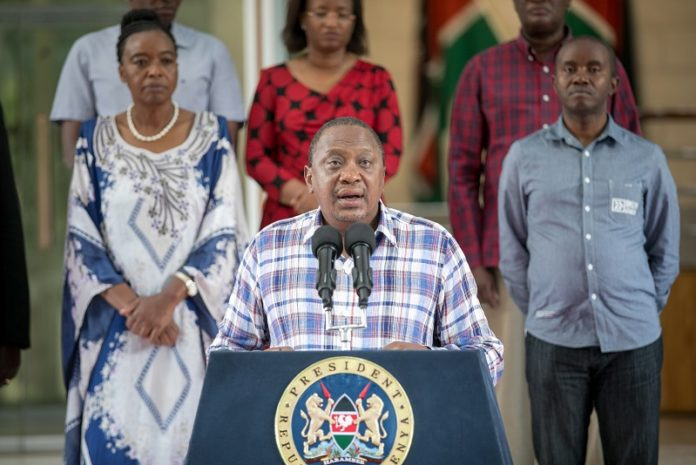 Kenyan President Uhuru Kenyatta (front) addresses a televised news conference in Nairobi, Kenya, March 15, 2020. Kenyan President Uhuru Kenyatta has announced stringent measures to help contain the spread of the deadly coronavirus after two new cases were confirmed on Sunday. Sub-Saharan Africa reported more novel coronavirus (COVID-19) cases on Sunday amid stronger countermeasures against the pandemic. (Xinhua)