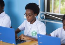 Vine Christian School Students Using their Chrome Books for Class Lessons