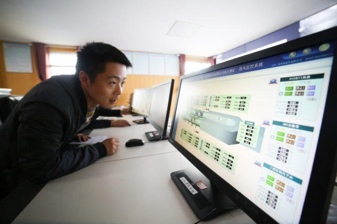 A mining enterprise in Bijie, southwest China's Guizhou province utilizes cloud service to achieve automatic monitoring and remote control for gas extraction, fan operation, video surveillance, and power supply. Cloud computing has improved security and lowered cost for the company. Photo by Luo Dafu, People's Daily Online