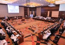 Participants attend the fifth meeting of the Directors General of Civil Aviation in the Middle East Region in Farwaniya Governorate, Kuwait, Nov. 4, 2019. Kuwait will witness rapid growth in passenger and cargo traffic over the next ten years, bringing annual revenues of about 800 million U.S. dollars, an official of Kuwaiti aviation authorities said on Monday. At the opening ceremony of the fifth meeting of the Directors General of Civil Aviation in the Middle East Region, Sheikh Salman Sabah Al-Salem Al-Humoud Al-Sabah, president of the Directorate General of Civil Aviation (DGCA) of Kuwait, said that it is estimated that the number of passengers in 2037 will reach about 42 million annually in Kuwait. (Photo by Asad/Xinhua)