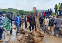 People clean up a road after landslides caused massive destruction of infrastructure in West Pokot County, Kenya, on Nov. 23, 2019. Kenyan officials on Saturday confirmed that 37 people had died as a result of landslides that hit northwestern county of West Pokot following heavy downpour on Friday night, according to local media. (Photo by Robert Manyara/Xinhua)