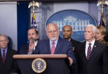 """Director of the U.S. Centers for Disease Control and Prevention (CDC) Robert Redfield attends a press conference on the COVID-19 at the White House in Washington D.C. March 9, 2020. U.S. President Donald Trump said Monday that his administration will ask Congress to approve a possible payroll tax cut and provide """"very substantial relief"""" for hourly workers and industries hit by the COVID-19 outbreak. (Xinhua/Liu Jie)"""