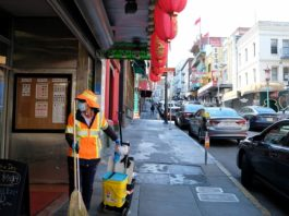 A cleaner works in San Francisco, California, the United States, March 20, 2020. California Governor Gavin Newsom announced Thursday evening a statewide stay-at-home order for the most populous U.S. state in response to the rapid spread of COVID-19. Newsom asked all nearly 40 million Californians to stay home unless it is absolutely necessary to head out. (Xinhua/Wu Xiaoling)