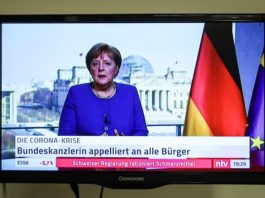 Photo taken on March 18, 2020 shows German Chancellor Angela Merkel delivering a video speech on COVID-19, in Berlin, capital of Germany. German Chancellor Angela Merkel urged solidarity among citizens in a speech on Wednesday evening, calling the COVID-19 the nation's biggest challenge since World War II. (Xinhua/Shan Yuqi)