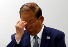 Toshiro Muto, Tokyo 2020 Organizing Committee Chief Executive Officer, attends a news conference after a telephone meeting with IOC President Thomas Bach (not in picture), while the spread of coronavirus disease (COVID-19) continues. In Tokyo, Japan, March 24, 2020. REUTERS/Issei Kato