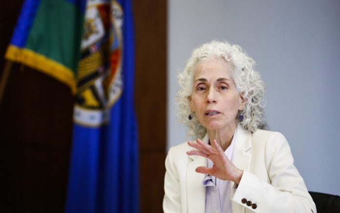 Barbara Ferrer, director of Los Angeles County Department of Public Health, speaks at a roundtable about the novel coronavirus disease (COVID-19) outbreak, in downtown Los Angeles, the United States, Feb. 24, 2020. Los Angeles County officials on Monday expressed solidarity with China in fighting against the novel coronavirus. (Xinhua/Li Ying)