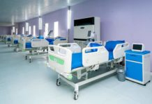 Photo taken on April 9, 2020 shows some of the beds at the isolation centre in Mobolaji Johnson Stadium, Onikan, Lagos State, Nigeria. The Lagos State Government has deployed 60 medical personnel and support staff to the newly commissioned 110 bed space isolation centre where seven COVID-19 patients have been placed on admission. (Xinhua/Emmanuel)