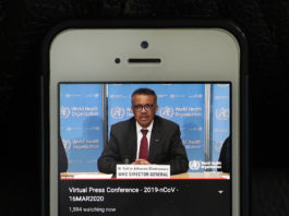 Photo taken in Brussels of Belgium on March 16, 2020 shows World Health Organization (WHO) Director-General Tedros Adhanom Ghebreyesus speaking at a virtual press conference held in Geneva, Switzerland. More cases and deaths of COVID-19 have now been reported in the rest of the world than in China, the chief of the WHO said here on Monday, noting that a rapid escalation of the coronavirus cases has been seen in the past week. (Xinhua/Zheng Huansong)