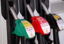 Photo taken on April 9, 2020 shows pump nozzles at a gas station in Brussels, Belgium. The Organization of the Petroleum Exporting Countries (OPEC) and its allies led by Russia, known as OPEC+, reached on Thursday a tentative agreement to cut production to stop a market free-fall amid the coronavirus pandemic, pending the consent of Mexico. (Xinhua/Zhang Cheng)