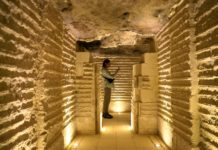 A visitor is seen inside the Step Pyramid in Saqqara necropolis, Giza province, Egypt, March 5, 2020. Egyptian Prime Minister Mostafa Madbouly inaugurated on Thursday the Step Pyramid of Djoser in the Saqqara necropolis near the capital Cairo, after the completion of its restoration. (Xinhua/Ahmed Gomaa)