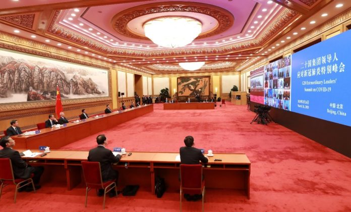 Chinese President Xi Jinping and other high-level officials attended the the G20 Extraordinary Virtual Leaders' Summit on March 26. Photo: Pang Xinglei/Xinhua