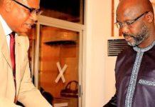L R Lacc Chairman Ndubusi Nwabudike And President George Weah