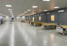 Hospital beds are placed in the canteen at a camp of Sinopec subsidiary Fifth Construction Co in Kuwait, which will be transformed into as makeshift hospital to combat the COVID-19. Photo: Courtesy of Sinopec Fifth Construction Co
